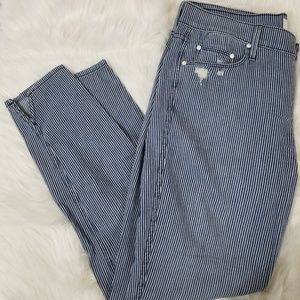 Mother Blue White Striped Skinny Pants The Vamp
